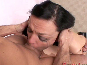 Nasty Camilla Rhodes stands on her knees and gets face fucked