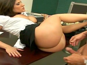 Sexy brown-haired gets her tits munched and her vag smashed in an office