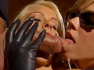 Two lewd blondes suck a jizz-shotgun before taking it in their butts