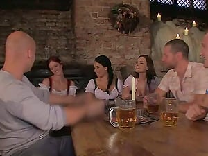 Three crazy ladies and three thirsty studs fucking in the pub