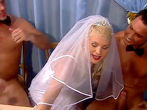 Trampy Blonde Kathy Anderson Covered in Food and Dual Penetrated
