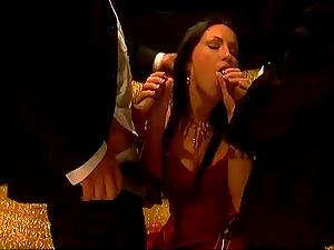 Mya Diamond likes a hot Double penetration after sucking two dicks