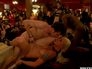 Slender stunner is being spanked and dicked at the soiree