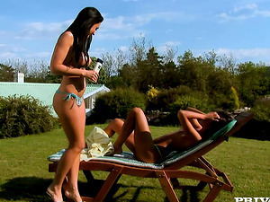 Three delightful black-haired honeys have lezzie bang-out outdoors