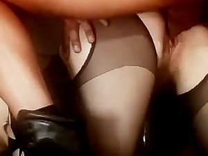 Gorgeous Estelle blows two dicks and gets fucked rough