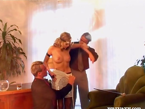 Blonde chick in stockings gets fucked rough by two guys