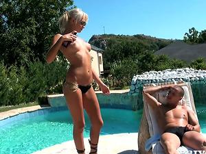 Ivana Sugar paws a jizz-shotgun on the poolside and gets jizz on her tits