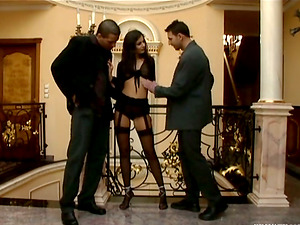 Elite whore Lucy Lee gets an order to entertain two studs