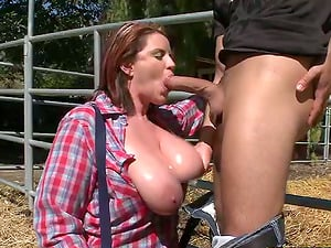 Farmer lady is being dicked in donk at her farm