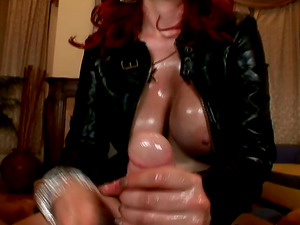 Cocky ginger-haired bitch with big knockers gets her cunt drilled