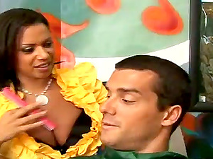 Big tittied brown-haired gets fucked hard in a barber shop