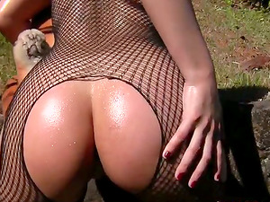 Britney the gorgeous stunner in fishnet bodysuit gets fucked outdoors