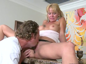 Jenny Hamilton Blonde Cougar Deep throats Manstick and Gets Fucked with Underpants On